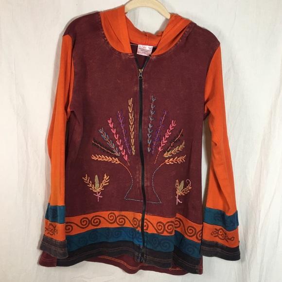 Greater Good Network Jackets & Blazers - Greater Good Network Rust and Orange Zip Hoodie
